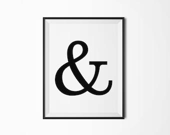 Ampersand Printable poster Typography Printable art Scandinavian poster Modern art Minimal art Typography poster