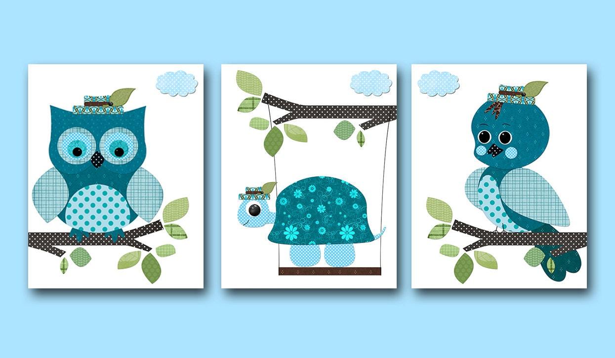 Conjunto de aves tortuga vivero Boy vivero arte imprimir niños
