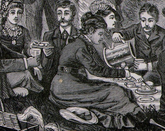 Picnic Lunch Party Victorian Society Fashion 1879 Original Antique Engraving To Frame Black & White
