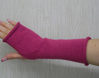 Pink fingerless gloves, handmade arm warmers, knitted hand warmers, womens fingerless mittens, knitted arm warmers, CHOOSE COLOUR