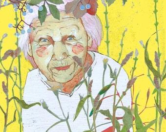 Falten: Druck. Kunstdruck. Wanddekoration. Porträt. Pflanzen. Geschenk für Schwester. Alte Frau. Garten. Geschenk für Geburtstag.