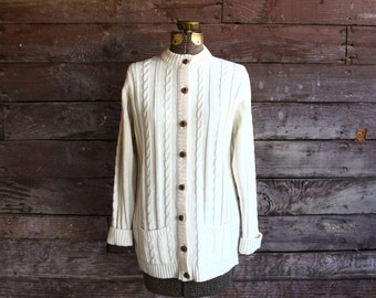 50s cardigan - ivory cable knit sweater - fisherman sweater - small