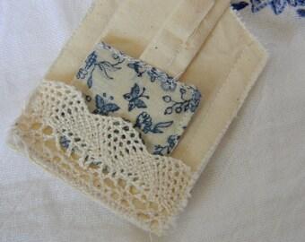 Floral Blue & Lace Muslin Teabag Bookmark