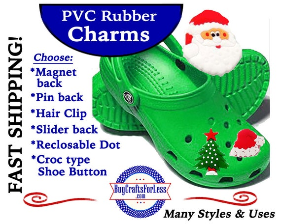 PVC Charms, CHRISTMAS * 20% OFF Any 4 PvC Charms+ShipFREE *Choose back-Button, Pin, Slider, Hair Clip, Reclosable Dot, Magnet