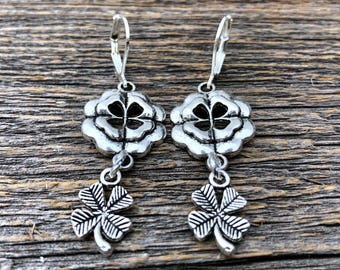 Tibetan Silver Celtic Earrings With Shamrocks and Four Leaf Clover Charms ST PATRICK'S DAY Jewelry