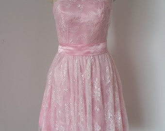 2015 One-shoulder Blush Pink Lace Short Bridesmaid Dress with Blush Pink Sash