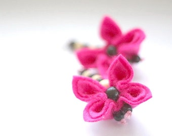 SALE Flamingo, Felt Flower Earrings