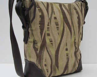 LARGE SHOULDER BAG by Elizabeth Z Mow  Fabric with Leather Streaming Green Satchel