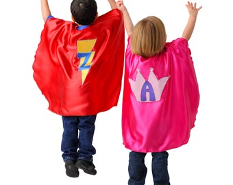Set of 10 Custom superhero capes for children,  personalized with emblem and initial, customizable