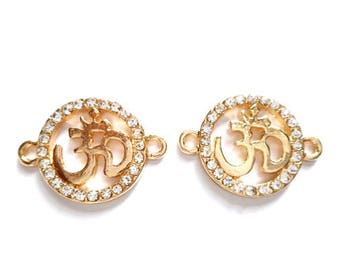 2 Gold Plated Om Connectors With Clear Rhinestones - 3-1