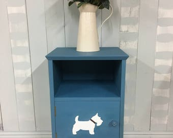 Hand painted bedside cabinet, retro nightstand, bedside table, side table, scottie dog, painted furniture, blue furniture