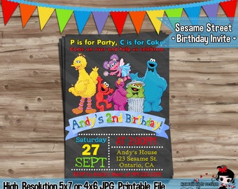 Sesame Street Invitation Sesame Street Birthday Invite Sesame Street Invitation Sesame Street Elmo Invitation Digital Printable, JPG File