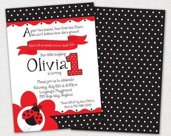 Ladybug Birthday Invitation / Ladybug 1st Birthday Invitation / Digital Invitation / DIY Printable