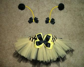 Bumblebee tutu costume with antenna bows custom made size Newborn-4T