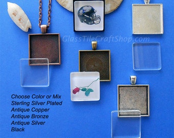20 Square Pendant Kits - 25mm (1 inch) Trays and Glass Cabochons with 24 inch Roll Chains. (KITSQTRC)