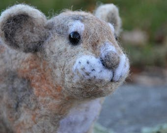 Paradise the Pica, needle felted animal wool art sculpture