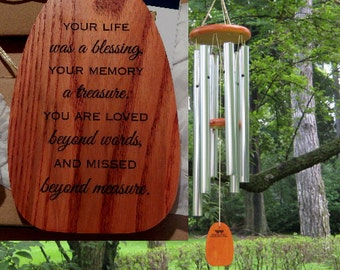 Personalized Wind Chime - Your Life Was A Blessing - Custom Chime - Engraved Wind Chime - Garden Memorial - Memorial Garden - Sympathy Gift