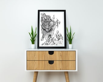 Raven Ink drawing, Art print. A5, Giclee, Original drawing, Black and white art, Ink art, illustration, Pen and Ink, Fine art, art, drawing