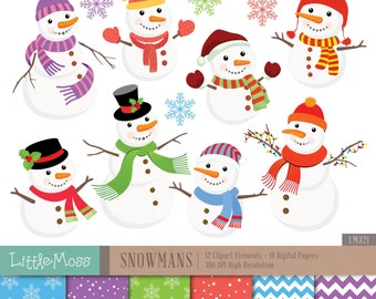 Christmas Snowman Digital Clipart