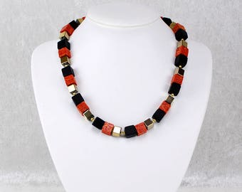 Eye-Catching Black Red Gold Cube Necklace – Geometric Crystal Necklace, Gemstone Necklace