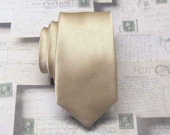 Mens Ties. Necktie Tan Gold Stripes Men's Skinny Tie