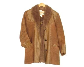 rugged leather coat * vintage suede jacket * shearling collar leather jacket * 70s pioneer jacket * women's medium