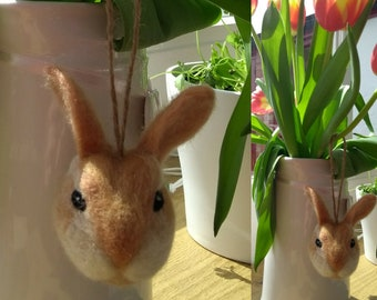 Needle felted rabbit - ornament, decoration, soft sculpture, collectable.
