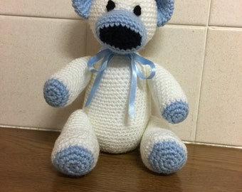 blue and white teddy