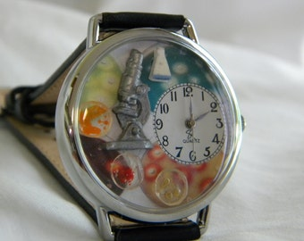 Microbiologist Watch with microscope beaker and petri dishes