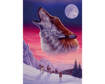 Wolf. Original fine art print of a majestic wolf howling at the moon