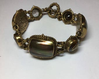 Stephen Dweck Sterling Bronze Gorgeous Bracelet Browns Topaz Pearl Dated 1990