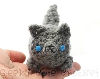 Large Gray Wolf Yama Amigurumi Plush Toy Stuffed Animal Crochet
