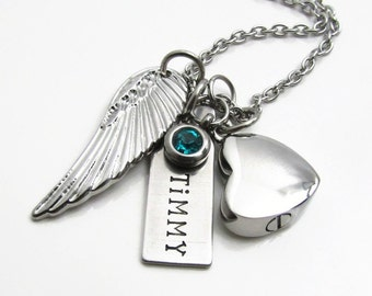 Personalized Cremation Jewelry - Cremation Necklace - Personalized Necklace, Memorial Urn Necklace, Birthstone Angel Wing Heart Urn Necklace
