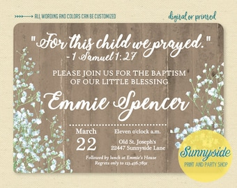 For this child we prayed Baptism Invitation, Samuel Bible Verse Scripture baby Baptism invite, printable or printed, rustic Baptism