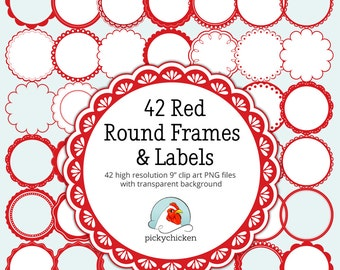 Red Circle frames clip art - 42 red & white digital frames scalloped labels round tags clipart photography overlay Instant Download 5021