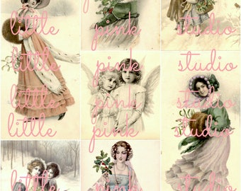 Vintage Victorian Christmas  collage sheet (printable, digital download)