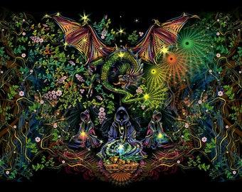 "Psy Вackdrop ""Tea Master""  UV active fluorescent psychedelic tapestry blacklight wall hanging decoration goa party visual art digital design"