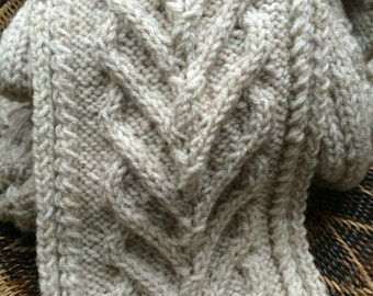 Gorgeous hand knitted wool blend scarf, mens and women's scarf, oatmeal color scarf for men or women, cable knit scarves