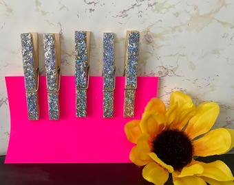 Set of 5 Glitter Clothespins - Holographic Clothes Pin - 3'' Clothes Pin - Glitter Covered - Iridescent Sparkly Clothespins - Shabby Chic