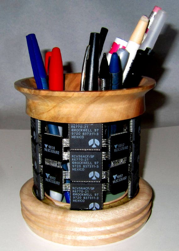 Pencil, Tool and Brush Holder – PH17 – Integrated Circuits with Maple – 65-17 – Steampunk, Techno