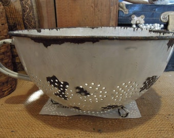 Vintage Enamel Colander / Rustic White and Black Bowl / Strainer Farmhouse Decor