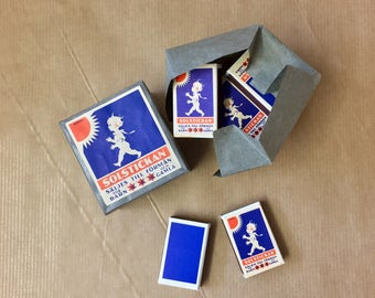 FREE WORLDWIDE SHIPPING >•< Solstickan matches, 10 small match boxes from 1960s Sweden