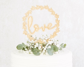 Love Botanical Wedding Cake Topper