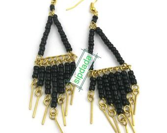 African earrings, African jewelry, black earrings, boho jewelry, bohemian style, boho style, statement earrings (0009)