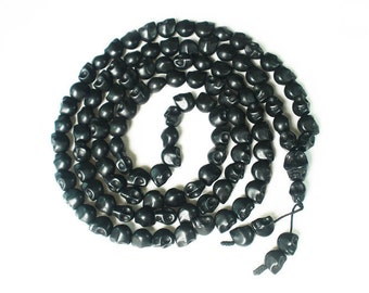Fashion Jewelry Cool Turquoise 108 Black Vein 10x12mm Skull Beads Necklace