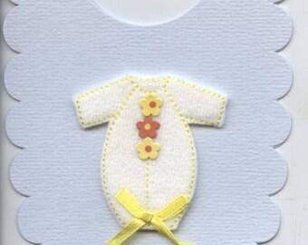 Baby bib shaped card with babygrow design