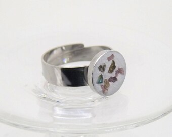 Concrete ring with tourmaline splitter-Stainless steel gift