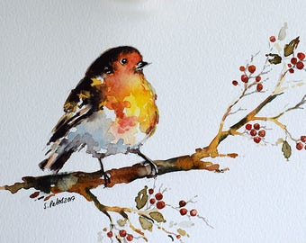 ORIGINAL Watercolor Painting, Robin Bird with Berries Illustration, Christmas Painting 6x8 Inch