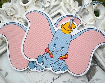 Baby Dumbo Gift Tags (6) - Dumbo Treat Tags-Dumbo Party-Dumbo Baby Shower-Dumbo Birthday-Dumbo Favor Tags-Elephant Tags-Baby Gift Tags