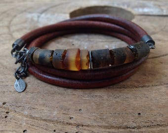 Men Raw Natural Baltic Amber wrap, Adjustable triple wrap, Antique Eco Leather Soft Brown, Genuine Amber, Oxidized 925 Silver, Rustic